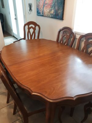 Solid wood table with 6 chairs and hutch for Sale in Marion, IL