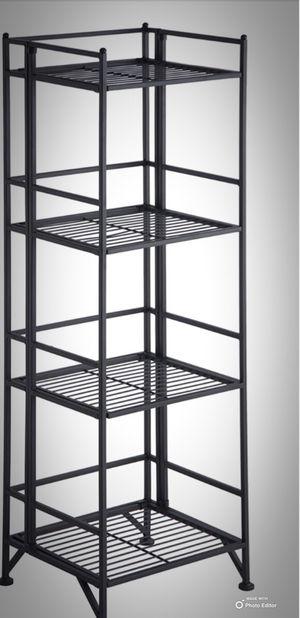 New!! Bookcase, bookshelves, organizer, storage unit , folding bookcase, shelving display, living room furniture, black, metal for Sale in Phoenix, AZ