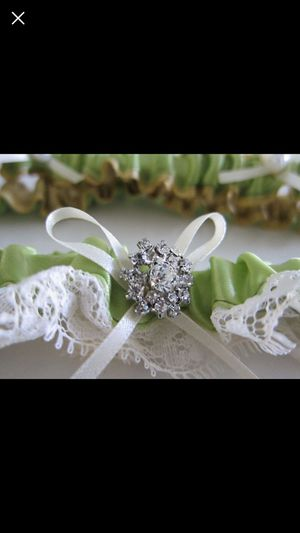 Green Wedding Garter Set with Rhinestone Pearl Ribbon Keepsake and Toss Garter for Sale in Chantilly, VA