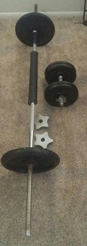 Weights iron 90lbs 2x25lbs, 4x10lbs. 6 foot chrome barbell, 1 chrome dumbbell bar, barbell cushion for Sale in Deerfield Beach, FL