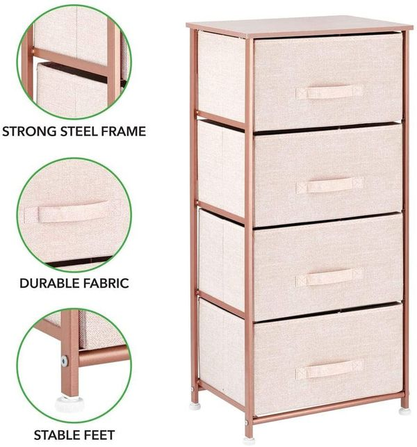 Pink/Rose Gold Storage Tower Dresse Organizer Light