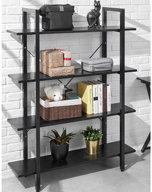 Wood Bookshelf 4 Tier 41Wx12Dx55H Bookcase Solid Industrial Bookshelf, Sturdy Bookshelves w/ Steel Frame Storage Organizer BLACK for Sale in Ontario, CA