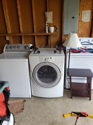 Washer, dryer and stove.... Washer is in good condition works great the stove works perfect too just the dryer have a problem sometimes works and for Sale in Indianapolis, IN