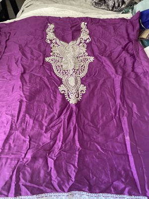 """Purple Indian embroidered top, pants fabric & shawl, unsewn, 35""""wide, 40 long, to sew your own tunic, rhinestones, new from India for Sale in Henderson, NV"""