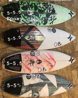 Surfboards 5-5 to 5-5.5 epoxy and poly for Sale in Deerfield Beach, FL