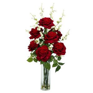 Nearly Natural Roses with Cherry Blossom Silk Flower Arrangement for Sale in Brambleton, VA