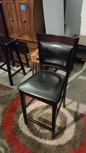 6 set leather and wood brown dining chairs for Sale in Seattle, WA