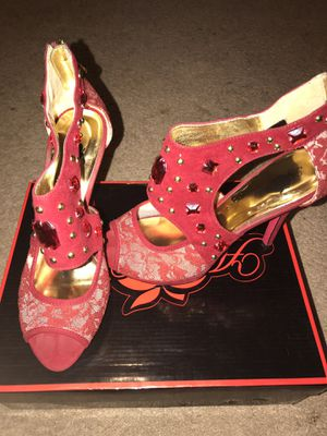 Size 8 high heel open toed shoes snake skin pattern color red with rhinestones for Sale in Columbus, OH