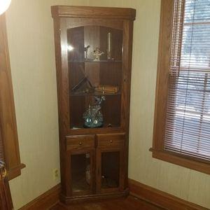 Oak Corner Curio Cabinet for Sale in Lombard, IL