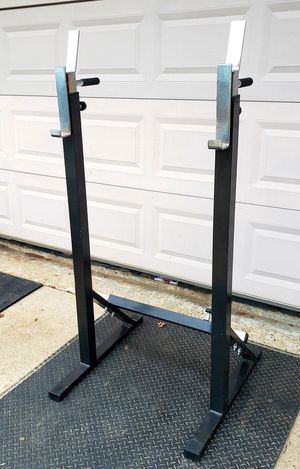 ADJUSTABLE SQUAT RACK ( IN AND OUT) ALSO DOUBLES AS A DIP STATION WHEN IN THE CLOSED POSITION for Sale in Saginaw, TX