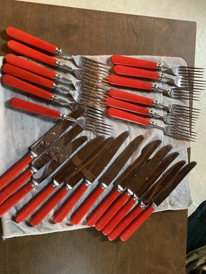 Vintage Red Handle Silverware for Sale in Hardwick Township, NJ