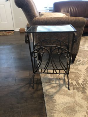 Wrought iron and glass magazine table for Sale in West Linn, OR
