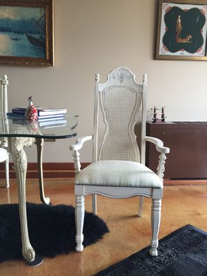 Antique caned back off white chair with gold accent for Sale in Alexandria, VA