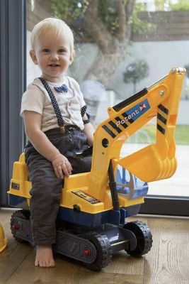 NEW IN BOX Toy Ride On Excavator Digger Pretend Play Contruction Truck Push Car with Work Helmet for Sale in Covina, CA