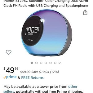 iHome iBT29BC Bluetooth Color Changing Dual Alarm Clock FM Radio with USB Charging and Speakerphon for Sale in Washington, DC