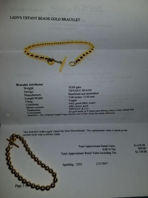 Tiffany&co. 18kt 30 bead, discontinued. Bought it for a cheating p.o.s. Need to sell! for Sale in Austin, TX
