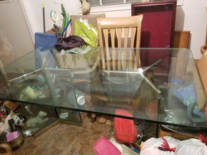 FREE NICE GLASS TABLE !!! NOTHING WRONG **I JUST DON'T NEED ** PLEASE BRING GOOD HELP GLASS IS HEAVY ** PLEASE DON'T ASK ME FOR THE CHAIRS ** for Sale in Lake Worth, FL