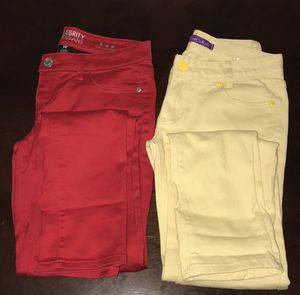 Skinny Jeans Red & Yellow slim fit Set/2 Size 3/4 for Sale in Los Angeles, CA