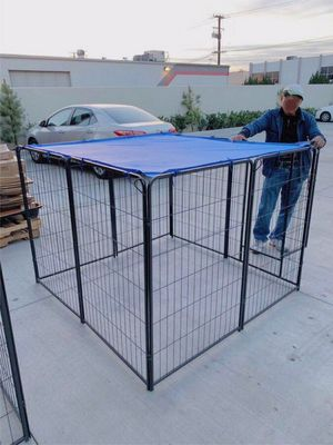 "New 48"" Tall x 32"" Wide Panel Heavy Duty 8 Panels Dog Playpen Pet Safety Fence Adjustable Shape and Space with Sunshade Tarp Canopy Cover for Sale in Pico Rivera, CA"