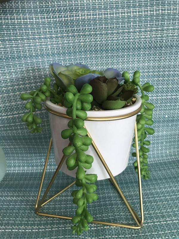 """6"""" artificial cascading succulent on metal stand"""