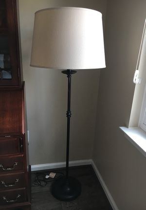Pottery barn floor lamp with ivory lamp shade for Sale in Washington, DC