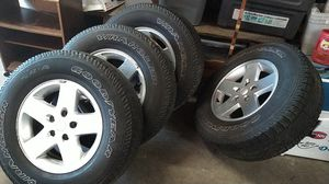 """4 Jeep Wrangler wheels and tires 255x75R17"""" for Sale in Richmond, VA"""