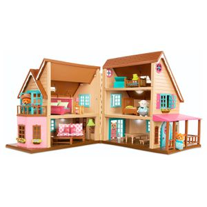 Doll house With working lights, Furniture, porch swing, + 25pieces. barbie doll pink 4 Li'l Woodzeez for Sale in Irvine, CA