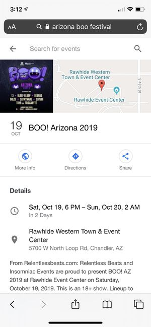 BOO arizona tickets 2 available for sale for Sale in Phoenix, AZ