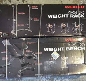 WEIDER XRS 20 WEIGHT BENCH AND RACK BUNDLE BRAND NEW for Sale in Chicago, IL