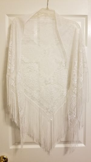 Womens White Mesh Formal Shawl for Sale in Wesley Chapel, FL