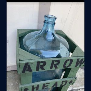 Arrowhead / Arrow Head Water Bottle - Vintage Glass with wood crate Tc7 for Sale in Arcadia, CA