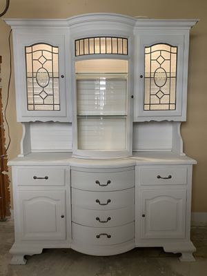 Antique china cabinet chalk painted USA made bearing drawers classic w lights vintage for Sale in Yorba Linda, CA