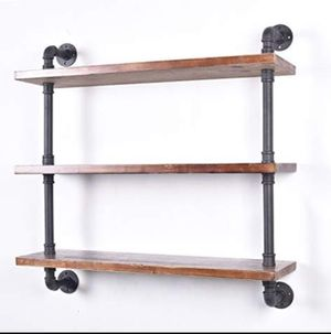 Industrial Pipe Shelving Bookshelf Rustic Modern Wood Ladder Storage Shelf 3 Tiers Retro Wall Mount Pipe for Sale in New York, NY