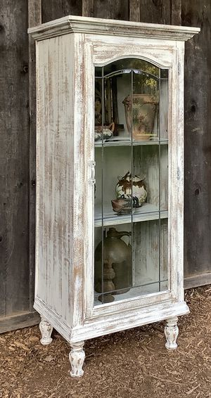 """Shabby Chic"" Beveled & Leaded Glass - Door Front Display Cabinet for Sale in Hillsboro, OR"