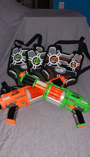 NERF Dart Tag Fury Fire twin set with Dart Tag vests for Sale in Yukon, OK