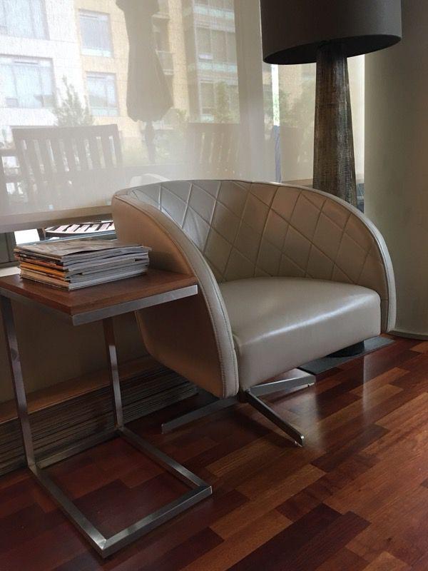 "Mid-Century Modern Boulevard Leather Swivel Armchair 30"" x 27.5"" Grey"