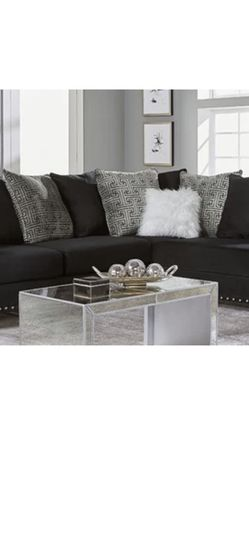 Black Velvet Sectional Pillows Included Excluding White Fluffy. for Sale in Columbus,  OH