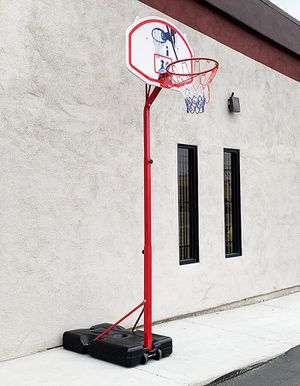 "(NEW) $75 Basketball Hoop w/ Stand Wheels, Backboard 32""x23"", Adjustable Rim Height 6' to 8' for Sale in Whittier, CA"