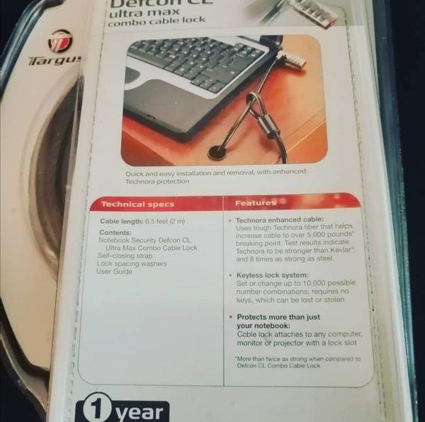 Targus Genuine DEFCON CL Notebook Computer Cable Lock