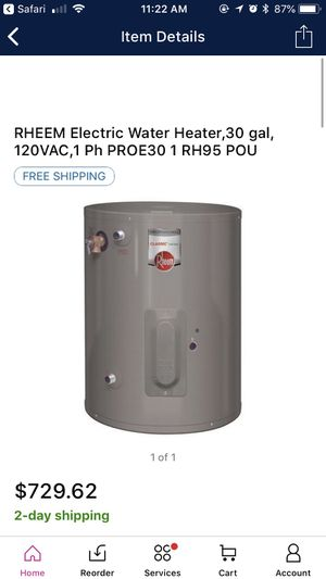 NEW IN BOX RHEEM 30 GALLONS WATER HEATER for Sale in Tampa, FL