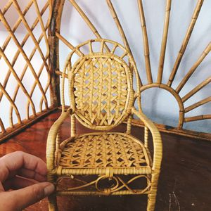 Vintage Boho Bohemian Rattan Cane Miniature Chair Plant Stand Holder Flowers Display Peacock Bamboo Basket Farmhouse Table Decor Art Collectible Retro for Sale in San Diego, CA