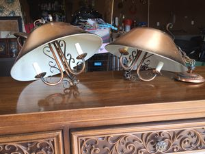 Two vintage antique lamps- copper style with great details for Sale in Boiling Springs, SC