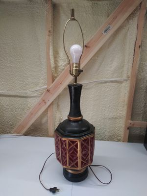 Vintage 1950s Large Lamp, Red/Black/Gold for Sale in Deer Park, TX
