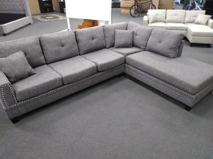Grey sectional $599.00 no rips brand new excellent condition... for Sale in Fresno, CA