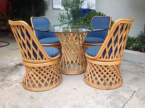 Boho Vintage Rattan Wicker Bamboo Dining Kitchen Set Table & 4 Swivel Chairs for Sale in San Diego, CA