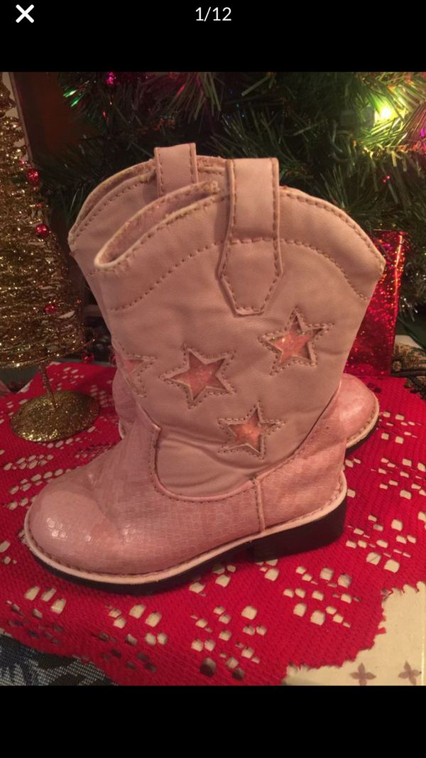 Little girls pink Cowgirl boots guc not winter indoor or warm weather size 6 faux Leather shows sign of use not new