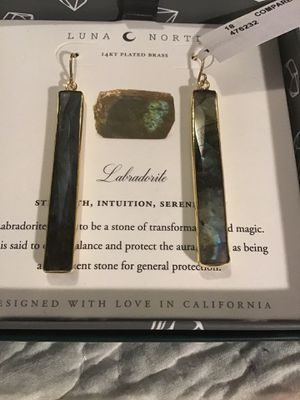 BY LUNA NORTE 14 k PLATED. BRASS EARRINGS WITH LABRADORITE STONES BEAUTIFUL !! for Sale in Virginia Beach, VA