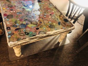 Almost finished. Authentic gem stones and crystals epoxy resin table for Sale in Amarillo, TX