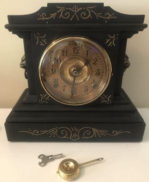 Antique Ansonia Black Cast Iron Mantle Clock Lion Head Sides Gong Chime for Sale in Lexington, SC