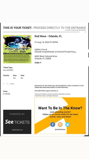 All Access tickets to rod wave for Sale in Orlando, FL